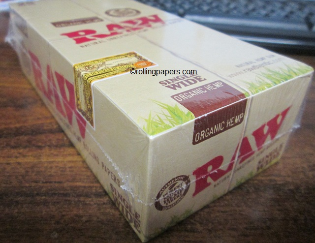 Raw Natural Organic Hemp Rolling Paper Single Wide Box