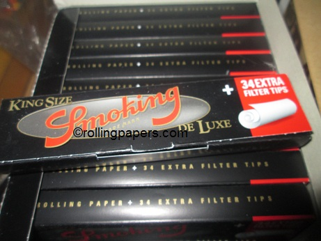 Smoking Deluxe king size Rolling Papers + 34 extra filter tips Booklet