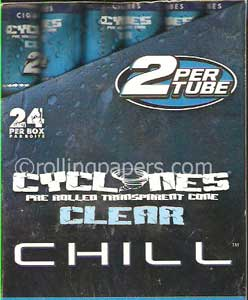 Cyclones Clear Blue Chill 2fers Box 24 Tubes of TWO Rolling Paper Cones Each